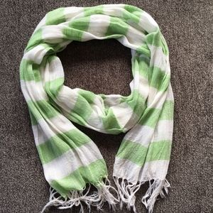 Urban Outfitter's Green White Stripe Cotton Scarf